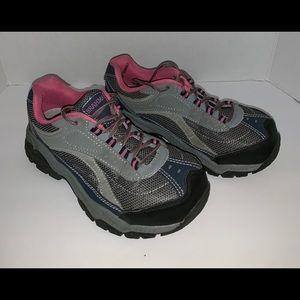 Brahma women's steel toe shoes. Sz 7.5.Pink/gray.